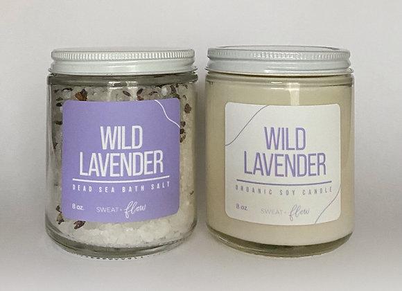 Organic Soy Candle + Dead Sea Bath Salt Duo