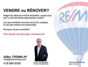 Carton Publicitaire RE/MAX Gilles TREMBLAY