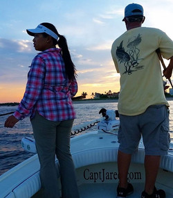 Stunning sunsets, mullet madness and tarpon chewing. Sharing the bow with _capt