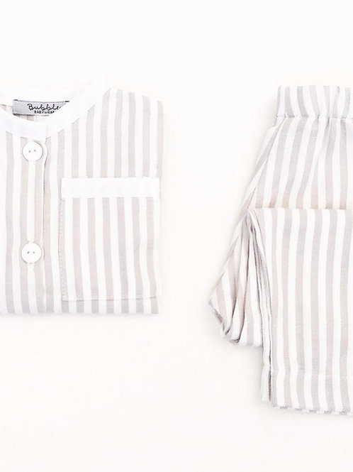 Pijama riscas cinzentas