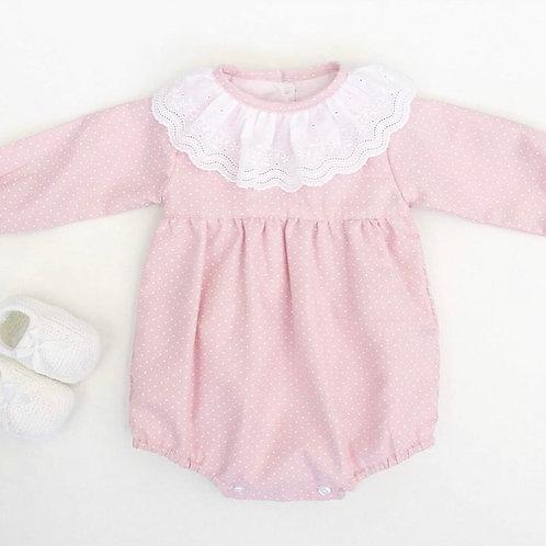 Fofo cor-de-rosa pintinhas brancas