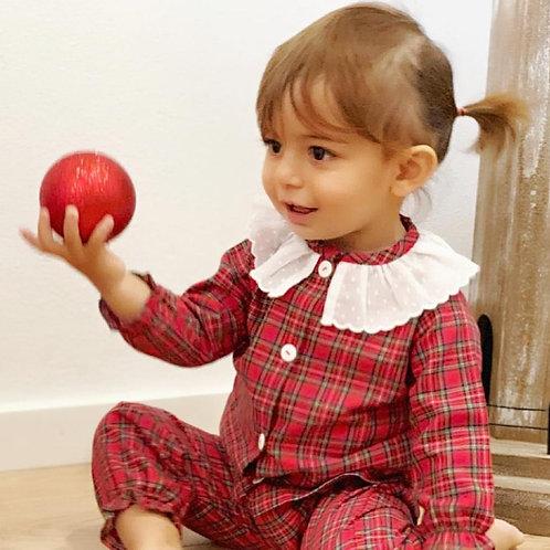 Pijama Xadrez de Natal rapariga