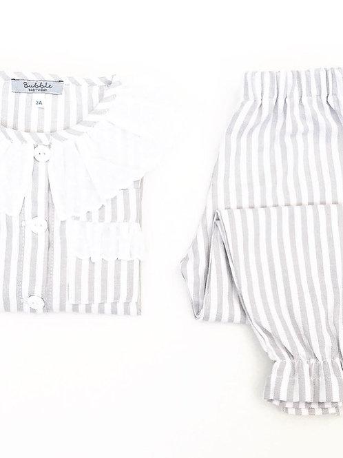 Pijama derapariga riscas cinzentas