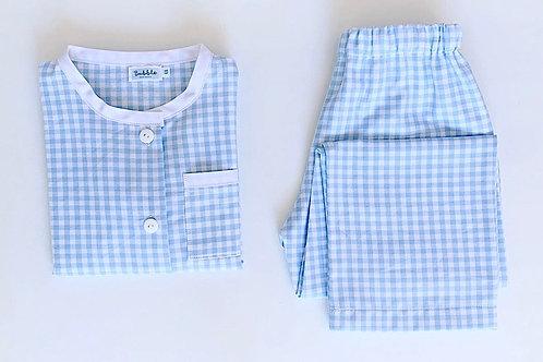 Pijama quadradinhos azuis