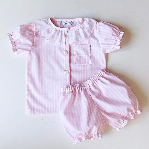 Pijama riscas cor-de-rosa