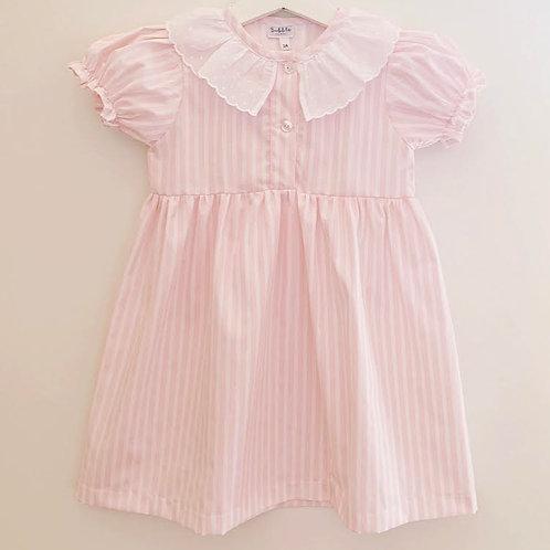 Camisa de noite riscas cor-de-rosa