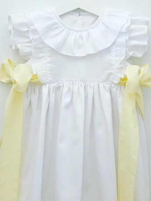 Vestido branco laços amarelos
