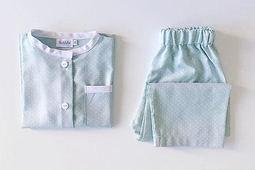 Pijama verde pintas brancas