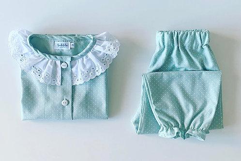 Pijama rapariga verde pintas brancas