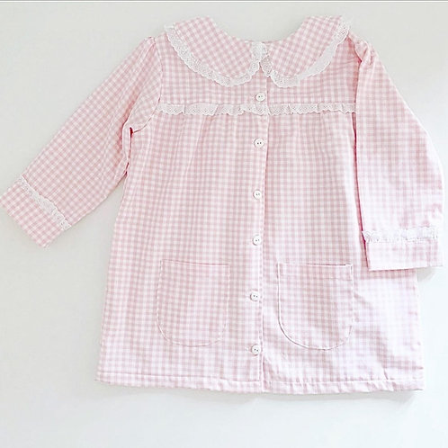 Roupão quadradinhos cor-de-rosa