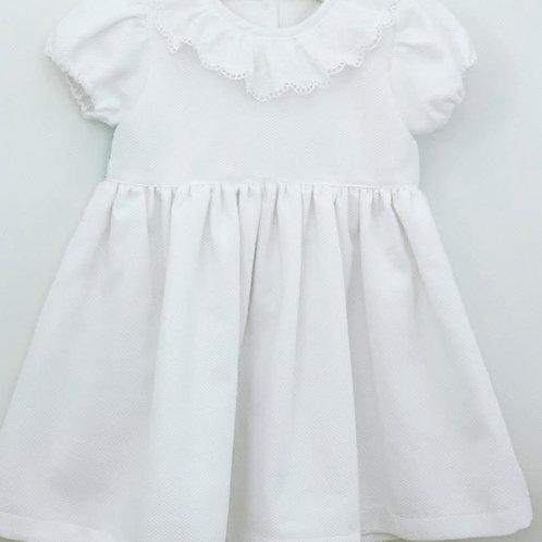 Vestido Pique branco com laço verde água
