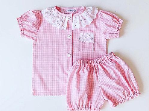 Pijama Quadradinhos Rosa