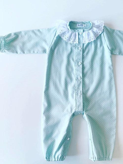Pijama inteiro verde pintas brancas