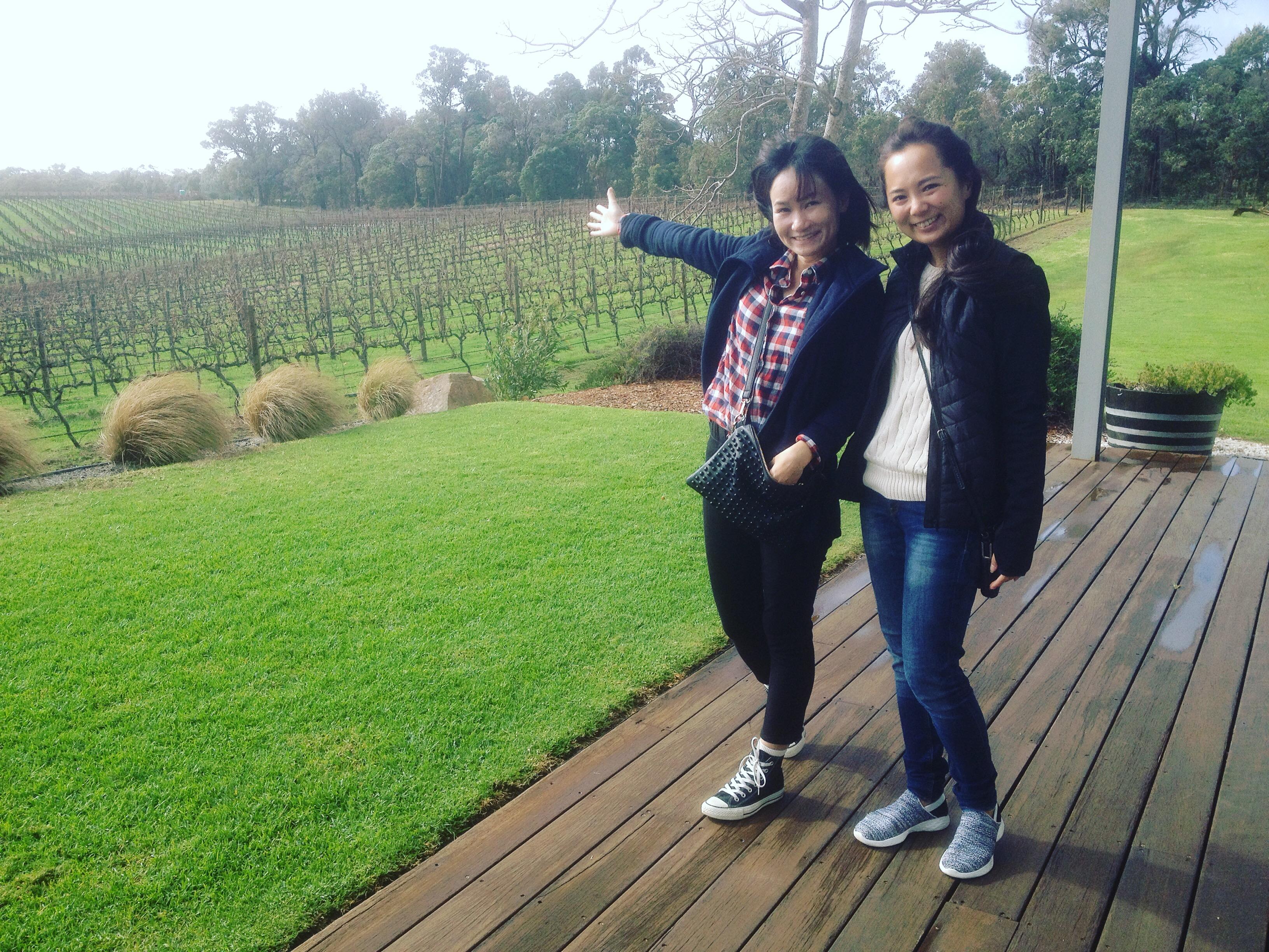 Friends on a wine tour