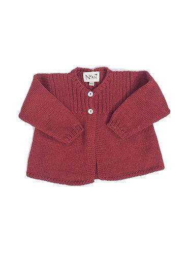 Burgundy wool ribbed baby cardigan /Casaco cv bebe canelado no peito