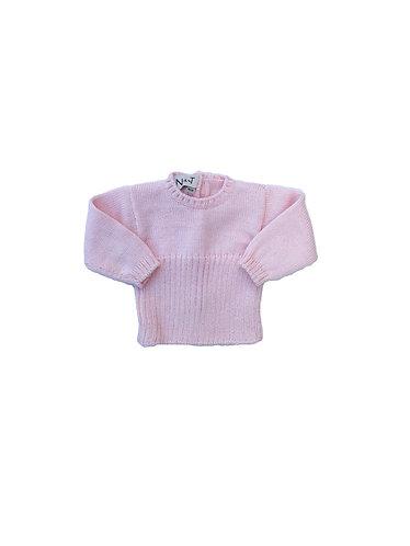 Pink Wool baby ribbed jumper/ Camisola canelada cr de lã bebe