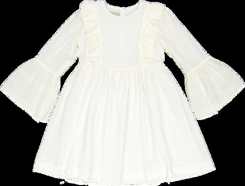 Cream flowing dress with ribs /Vestido meio branco Fluído com nervuras