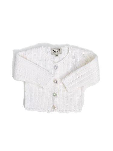 Pearl Wool simples baby cardigan/ Casaco pérola de bebe simples de lã