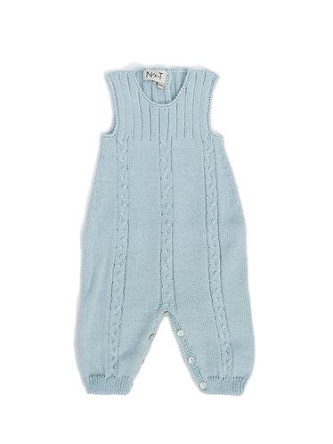 Light green wool baby overalls/ Jardineiras bebe va de lã com torçidos