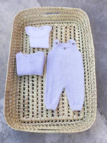 Grey Overalls pecesa with pocket /Jardineiras cinzentas  pecesa bebe com bolso