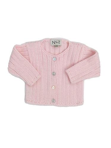 Pink Wool simples baby cardigan/ Casaco de bebe cr simples de lã
