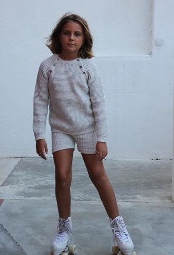 Beige Knit sweater with buttons/ Camisola bege pecesa com botões