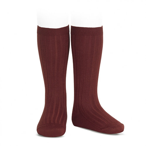 Burgundy Knee high ribbed Socks/ Meias altas caneladas