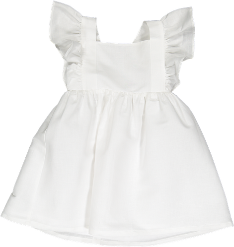 Pack (1 of each size)  White linen dress with crossed strap
