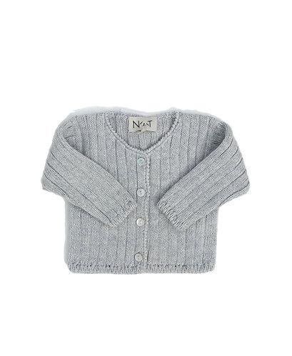 Grey Wool simples baby cardigan/ Casaco de bebe cinzento simples de lã