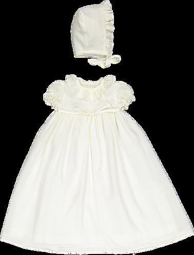Baptism long dress bonnet/ Vestido batizado comprido com touca