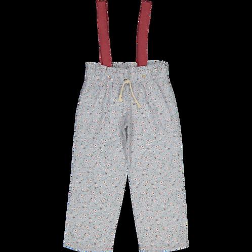 Blue&pink floral trousers/Calças flores azul/cr.