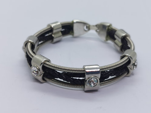 Bass Guitar String Leather Crystal Bracelet - small