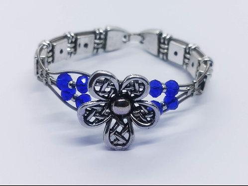 Guitar String Blue Crystal Flower Bracelet - Med