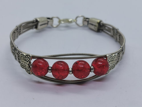Guitar String Butterfly Bracelet Red- small