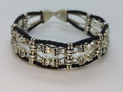 Guitar String Leather Double Skull Bracelet - Med