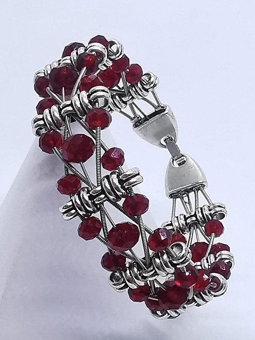 Guitar String Ruby Crystal Bracelet - Med