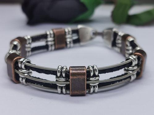Leather & Copper Guitar String Bracelet