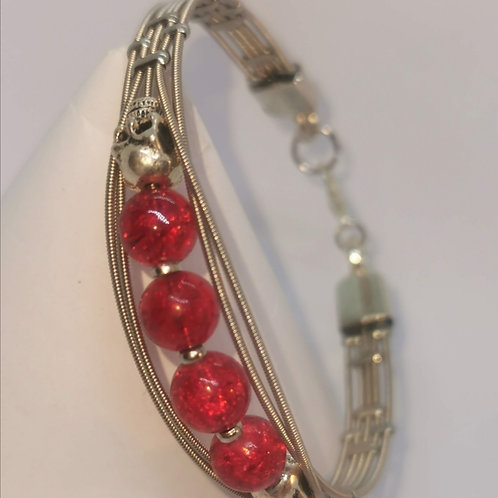 Guitar String Skull Bracelet Red - Medium