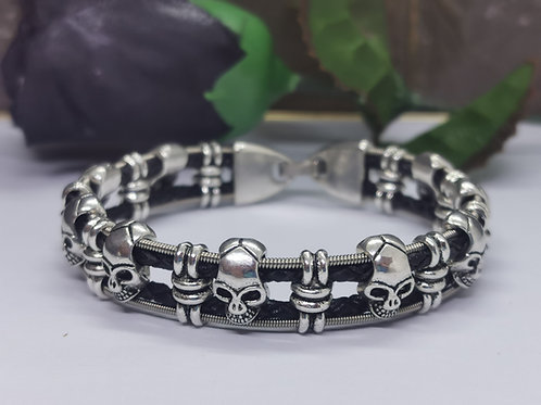 Guitar String Leather Skull Bracelet