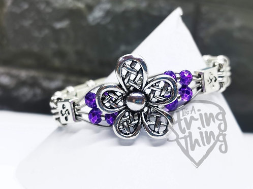 Purple Daisy Statement Guitar String Bracelet