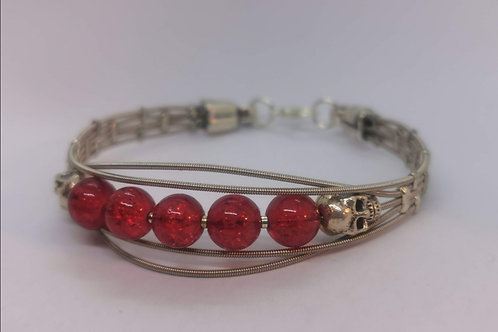 Guitar String Skull Bracelet Red - Large
