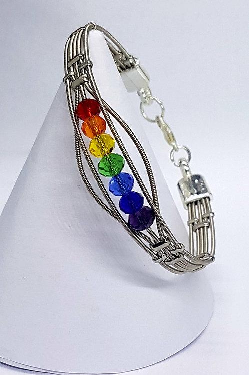 Guitar String Rainbow Crystal Bracelet