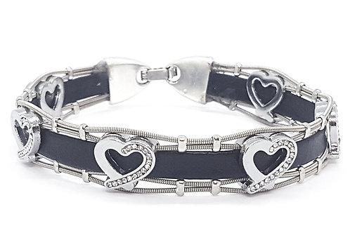 Guitar String Leather Heart Bracelet