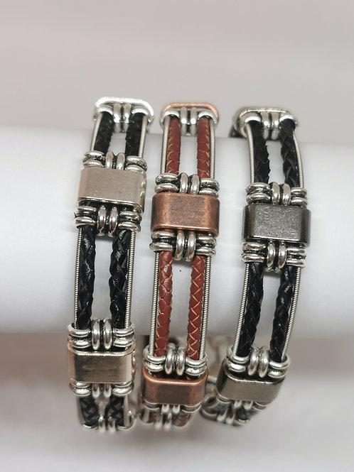 Guitar String Braided Leather Bracelet