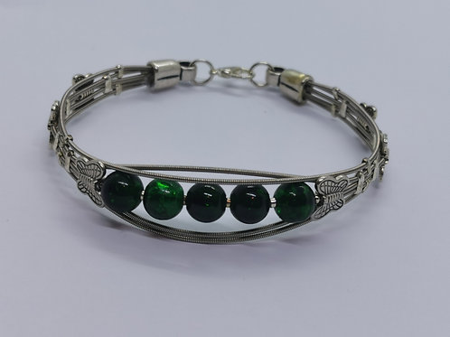 Green Glass Guitar String Bracelet - large