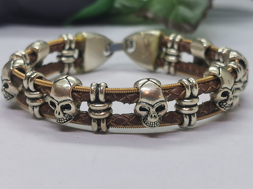 Acoustic Guitar String Leather Skull Bracelet - Small