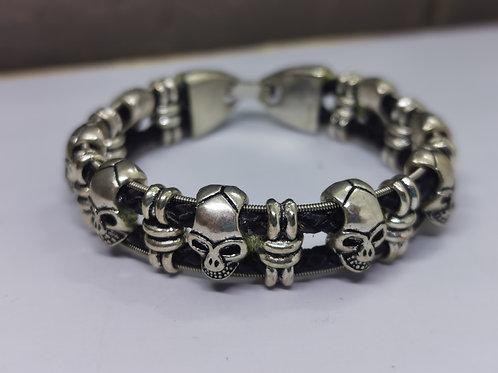 Guitar String Leather Skull Bracelet - extra small