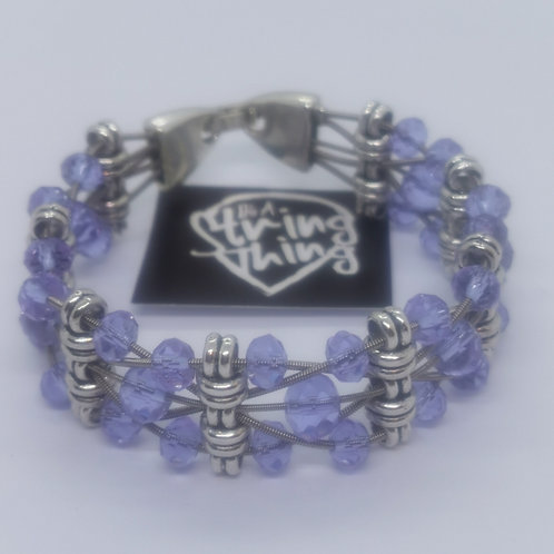 Lilac Crystal Guitar String Bracelet - small