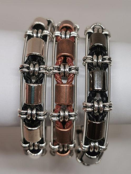 Leather Guitar String Barrel Bracelet