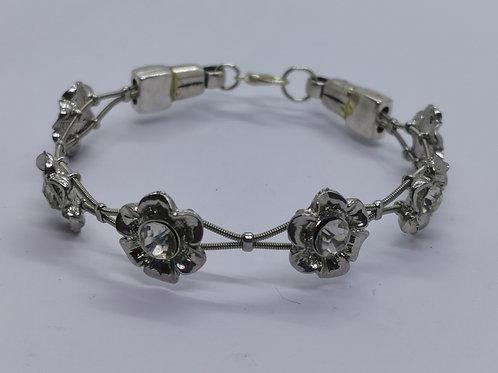 Guitar String Crystal Flower Bracelet - medium